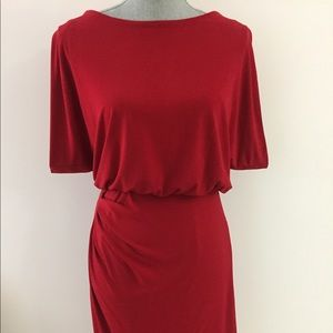 Dresses & Skirts - Red Dress with Ruching Size 2